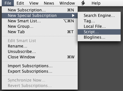 File Menu:New Special Subscription...:Script...