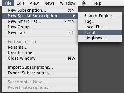 File Menu:New Special Subscription...:Script...