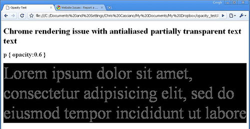 screenshot of opacity bug in Chrome