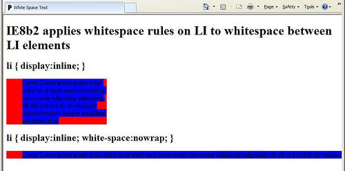 screenshot of whitespace bug in IE8b2